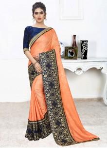 Silk Classic Saree in Orange