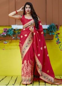 Red Silk Contemporary Saree
