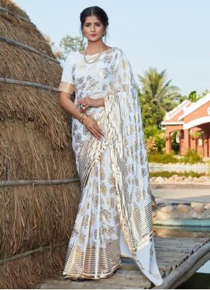 Silk White Contemporary Saree