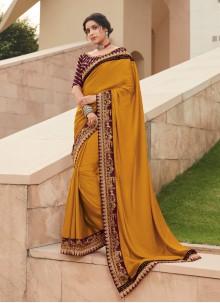 Silk Contemporary Saree in Mustard