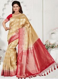 Silk Cream Classic Saree