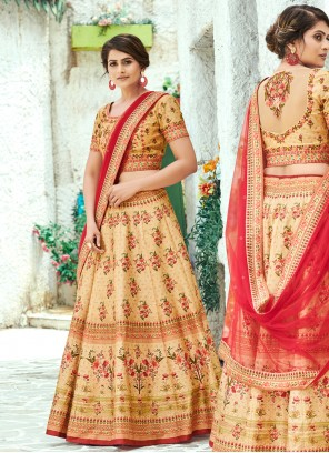 Silk Cream Designer Lehenga Choli