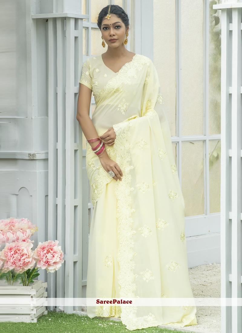 Silk Cream Designer Traditional Saree