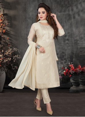 Silk Cream Embroidered Pant Style Suit