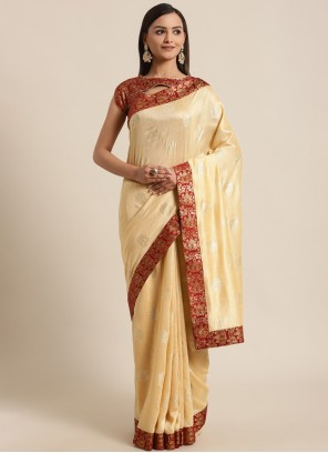 Silk Cream Foil Print Traditional Saree