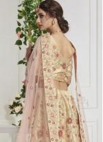 Silk Cream Thread Work Lehenga Choli