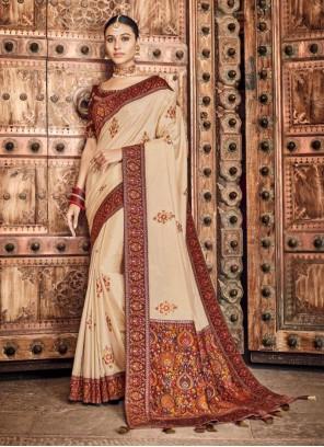 Silk Cream Traditional Designer Saree