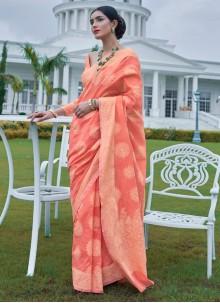 Silk Peach Designer Bollywood Saree