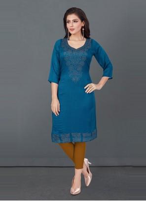 Silk Designer Kurti in Blue