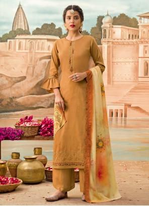 Silk Designer Pakistani Brown Salwar Suit