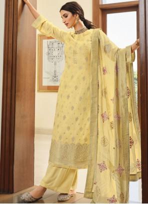 Silk Designer Palazzo Suit in Yellow