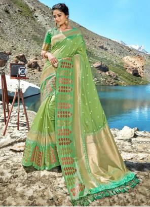 Olive Green Silk Designer Saree