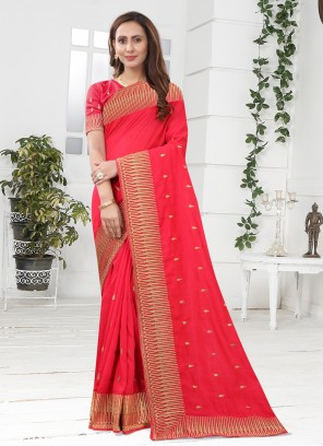 Silk Pink Designer Saree