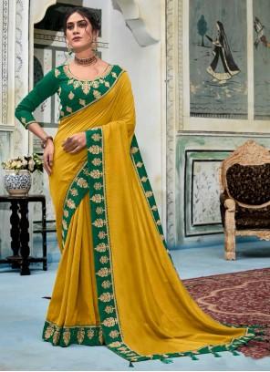 Mustard Silk Embroidered Designer Saree