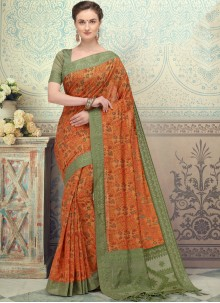 Printed Silk Designer Saree in Orange