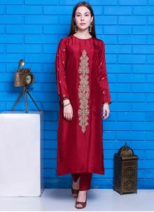 Maroon Hand Embroidery Silk Designer Suit
