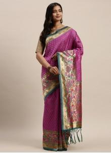 Magenta Silk Designer Traditional Saree