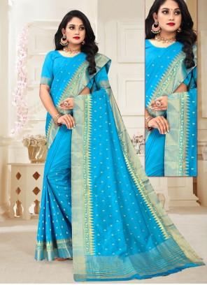 Aqua Blue Silk Designer Traditional Saree