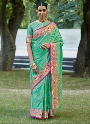Sea Green Silk Designer Traditional Saree