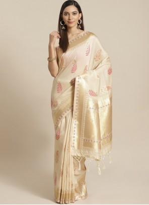 Silk Designer Traditional Saree in Beige