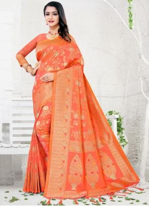 Silk Designer Traditional Saree in Orange