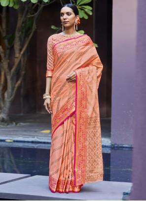 Silk Designer Traditional Saree in Peach