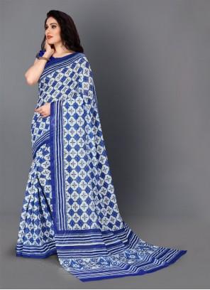 Silk Digital Print Blue Trendy Saree