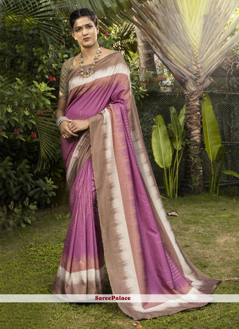 Silk Digital Print Bollywood Saree in Pink