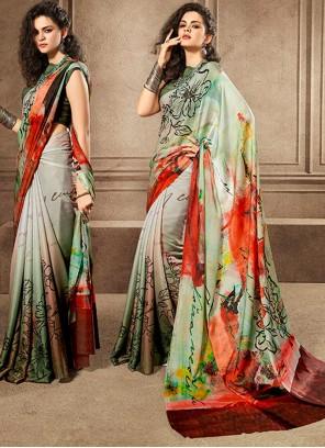 Silk Digital Print Classic Saree in Multi Colour