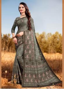 Silk Digital Print Designer Saree in Multi Colour