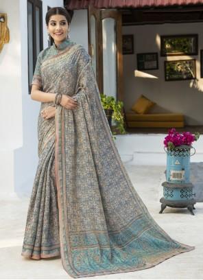 Silk Digital Print Grey Designer Traditional Saree