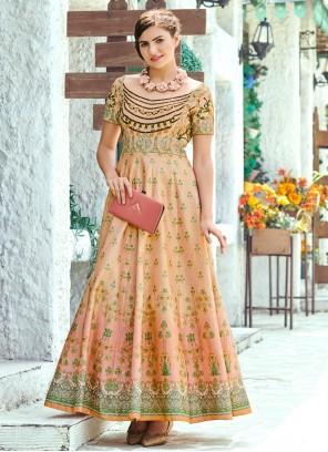 Silk Digital Print Floor Length Gown in Multi Colour