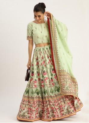 Silk Digital Print Green Designer Lehenga Choli