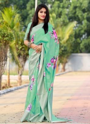 Silk Digital Print Multi Colour Saree