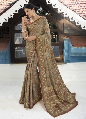 Silk Digital Print Multi Colour Traditional Saree