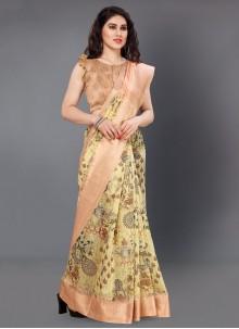 Silk Digital Print Printed Saree in Multi Colour