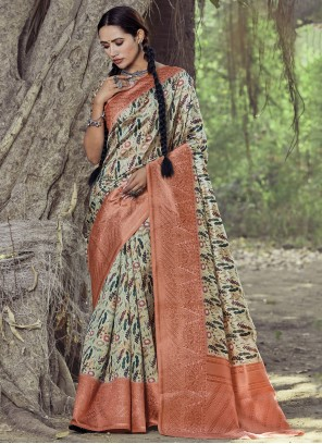 Silk Digital Print Saree in Multi Colour