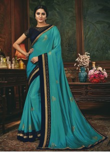 Silk Embroidered Aqua Blue Designer Traditional Saree