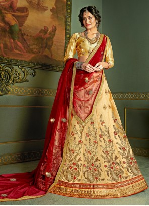 Silk Embroidered Beige A Line Lehenga Choli