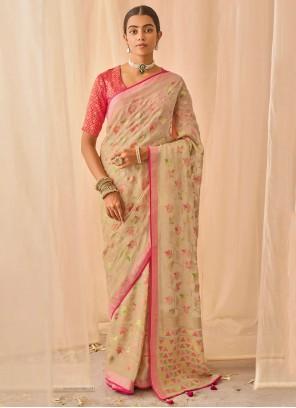 Silk Embroidered Beige Traditional Designer Saree