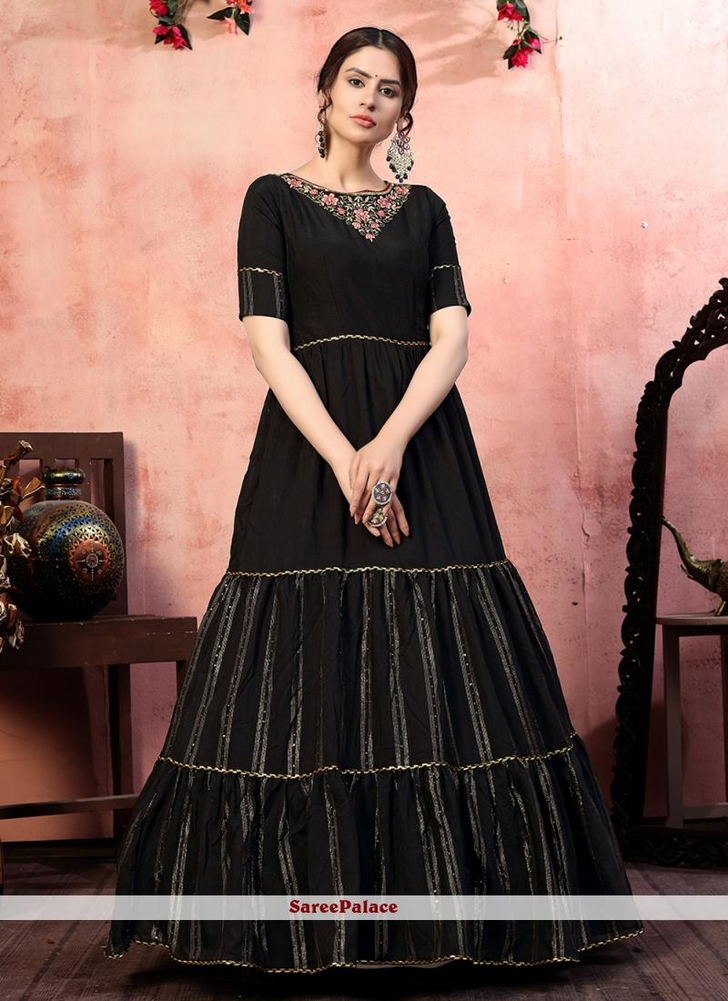 Silk Embroidered Black Designer Gown