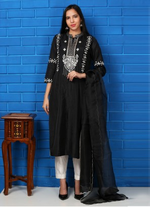 Silk Embroidered Black Readymade Suit