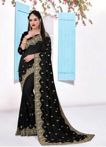 Silk Embroidered Black Trendy Saree