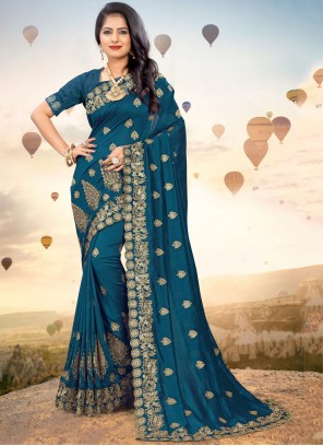 Silk Embroidered Blue Classic Saree