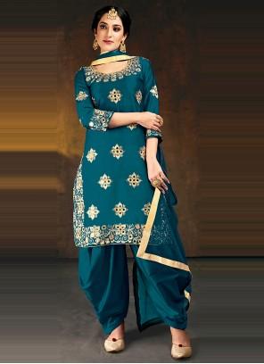 Silk Embroidered Blue Designer Patiala Suit