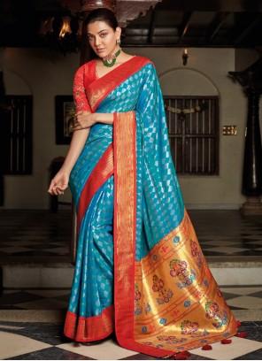Silk Embroidered Blue Traditional Designer Saree