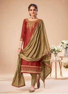 Silk Embroidered Bollywood Salwar Kameez in Maroon