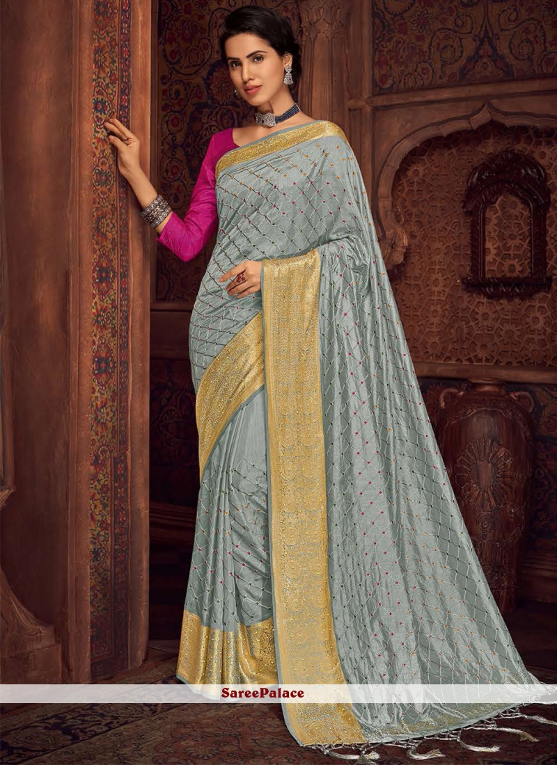 Silk Embroidered Bollywood Saree in Grey