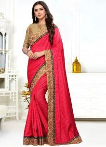 Pink Silk Embroidered Classic Designer Saree