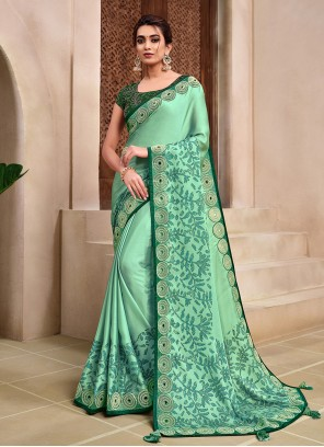 Green Silk Embroidered Classic Designer Saree